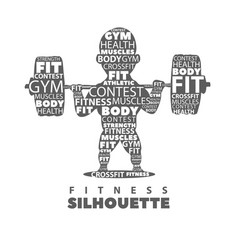 Silhouette of an athlete with a barbell on a vector