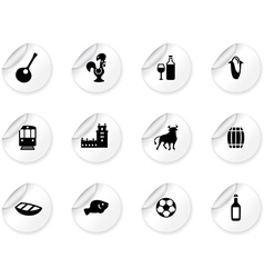Stickers with portuguese icons vector image