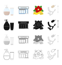 tattoo interior attributes and other web icon in vector image vector image