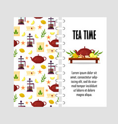 Template with teapot french press cup vector