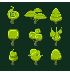 Trees With Fantastic Shape Crown Set vector image