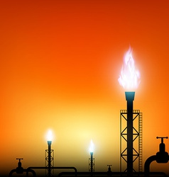 tube with a blue flame of gas on a sunset vector image vector image