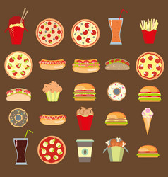 twenty five icons fast food vector image