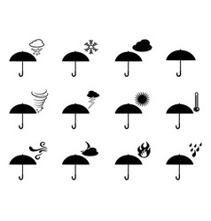 umbrella weather icons vector image vector image