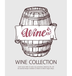 Wine or beer wood barrel vector