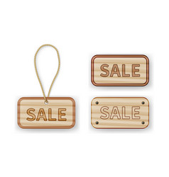 wooden labels with sale inscription with rope vector image vector image