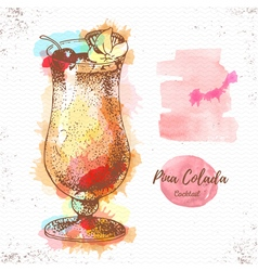 Watercolor cocktail pina colada sketch vector