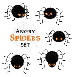 Cartoon scary black spiders set isolated on white vector