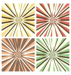 Set of radial sunburst backgrounds vector