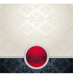 Seamless pattern in victorian red black silver col vector