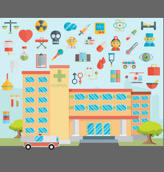 Hospital healthcare and medical icons vector