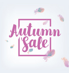 Banner autumn sale with feathers vector