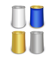 Colored tin can templates vector