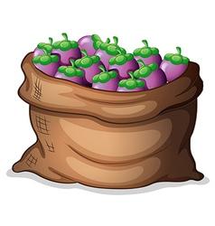 A sack of eggplants vector image