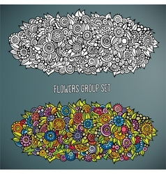 Flowers group set in different of color vector