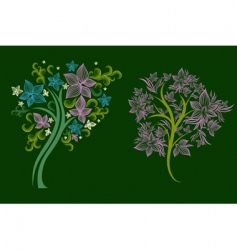 trees made from decorative flower vector image