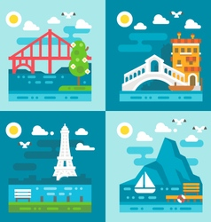 Flat design romantic landmark set vector