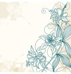 card or invitation with abstract flowers on a vector image