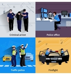 Policeman people 2x2 design compositions vector