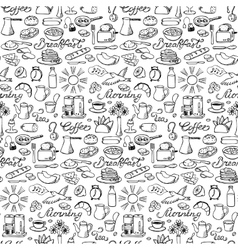 Hand drawn seamless breakfast pattern vector
