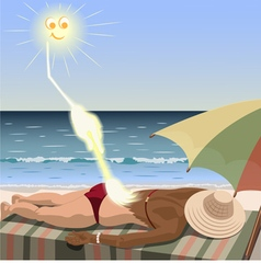 Sun creates tan for woman who lies on the beach vector