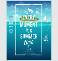 Summer time poster with sea background vector