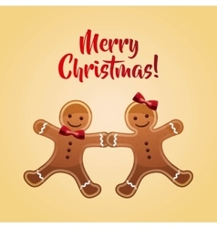 Cookie couple cartoon icon merry christmas design vector