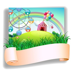 A blank template in front of a carnival vector image vector image