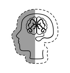 brain human with profile creative icon vector image vector image