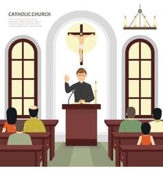 Catholic church priest vector