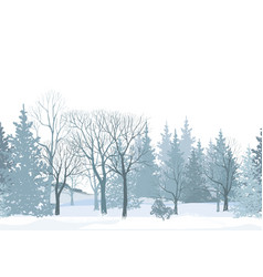 Christmas snow tree background winter forest vector