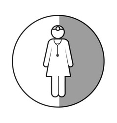Circular frame shading with pictogram female vector