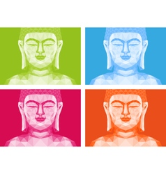 Colorful low poly buddha faces vector