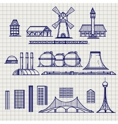 Country and city archetictural objects sketch vector