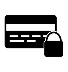 credit card security with lock silhouette icon vector image vector image