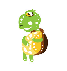 cute dancing green turtle character side view vector image