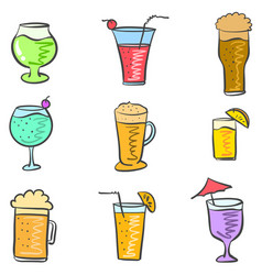 Doodle of drink style various collection vector
