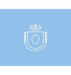 Elegant number 0 logotype premium numeral crest vector