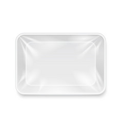 Empty white plastic food container packaging tray vector image