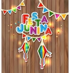 Festa Junina on wooden vector image