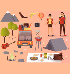 flat camping hiking icons set vector image