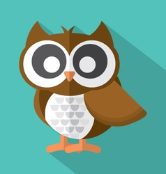 Flat Design Cute Owl Icon On Green Background vector image vector image