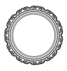 Frame decoration circular emblem empty floral line vector