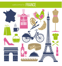 France sightseeing landmarks and famous vector