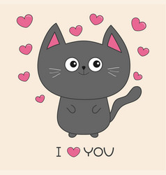 Gray contour cat holding pink heart i love you vector