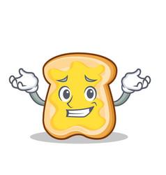 grinning slice bread cartoon character vector image vector image