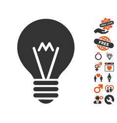 Hint bulb icon with dating bonus vector