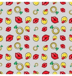 Lips Diamonds and Emoticons Seamless Pattern vector image