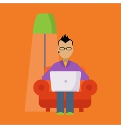 Man In The Armchair Working Freelance vector image vector image