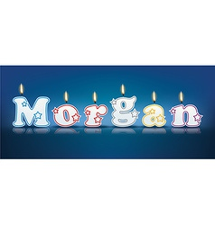 Morgan written with burning candles vector